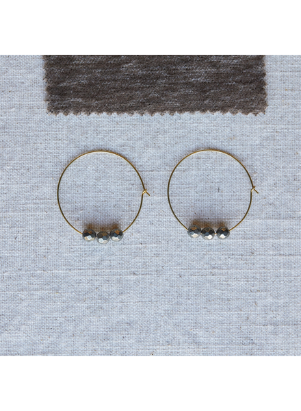 OraTen Ava Earrings, Brass Hoop - Pyrite