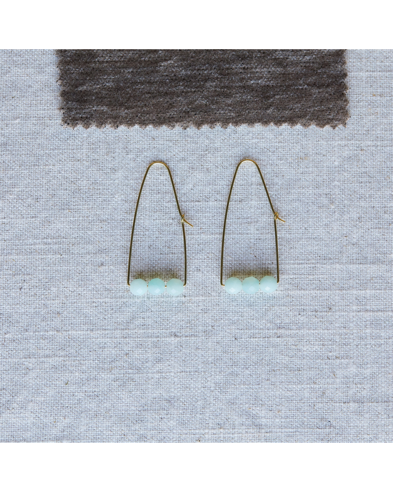 OraTen Ava Parabolic Arch Earrings, Brass - Amazonite