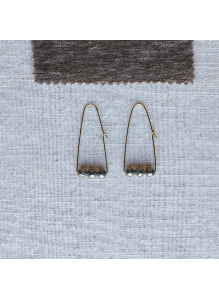 OraTen Ava Parabolic Arch Earrings, Brass - Pyrite
