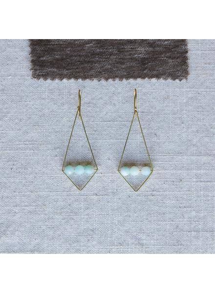 OraTen Vivien Rhombus Earrings, Brass - Amazonite