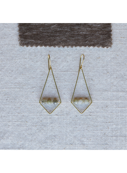 OraTen Vivien Rhombus Earrings, Brass - Labadorite