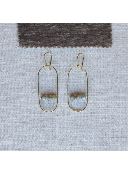 OraTen Vivien Capsule Earrings, Brass - Labadorite