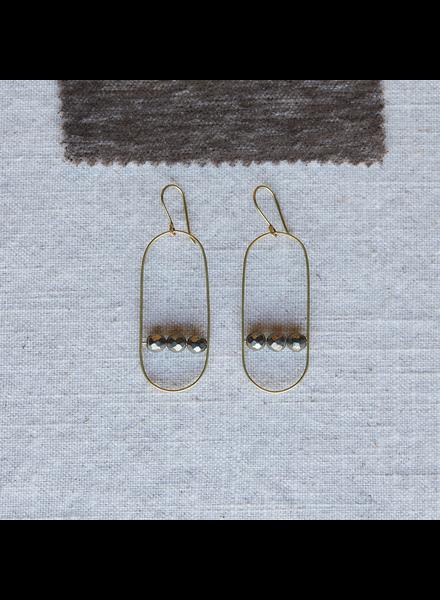 OraTen Vivien Capsule Earrings, Brass - Pyrite