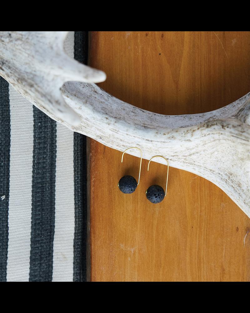 OraTen Nevis Lava Drop Earrings - Brass