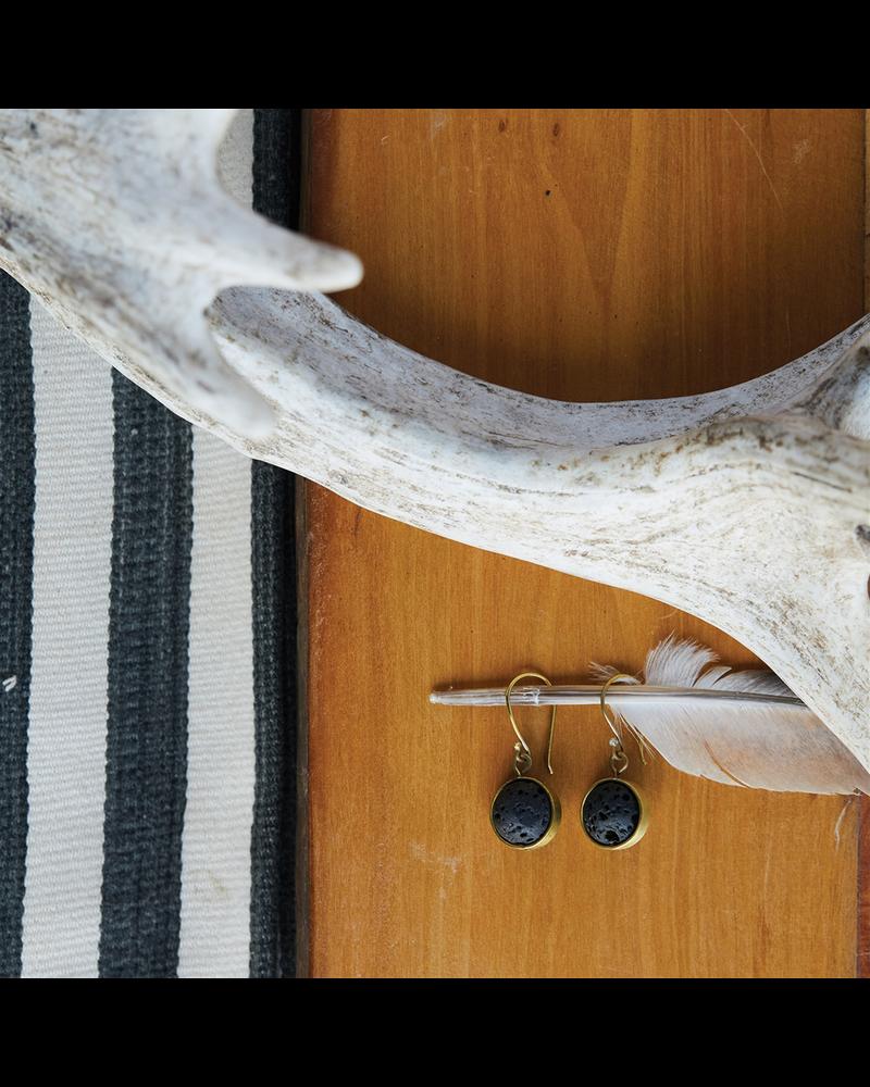 OraTen Nevis Lava Loop Earrings - Brass