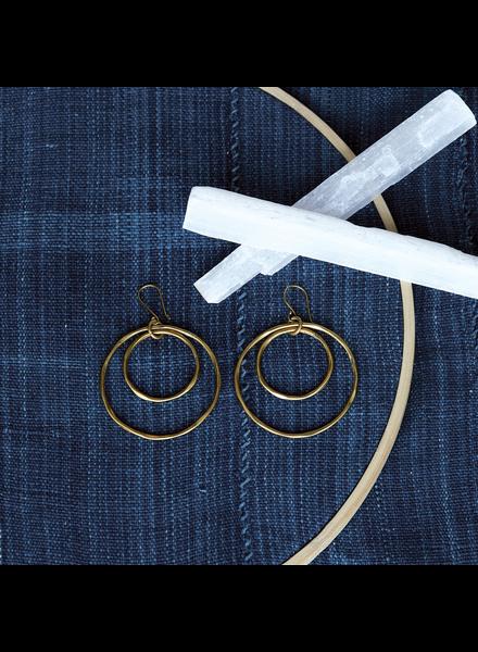 OraTen Gemini Earrings, Round, Lrg - Brass - Brass
