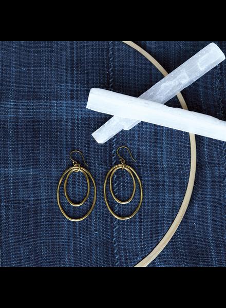 OraTen Gemini Earrings, Oval, Lrg - Brass - Brass