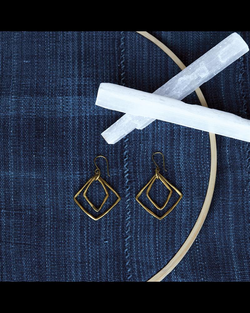 OraTen Gemini  Earrings, Square -Brass - Brass