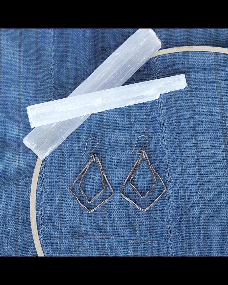 OraTen Gemini Earrings, Rhombus - Silver - Silver