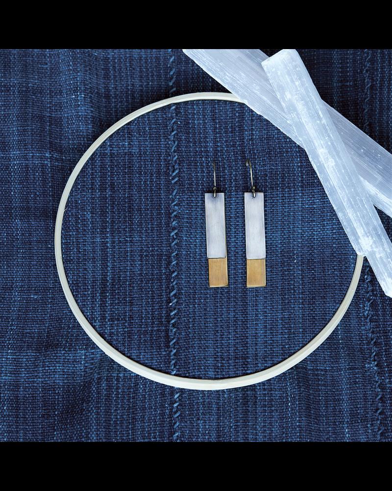 OraTen Halley Earrings - Rectangle, Brass & Silver - Brass