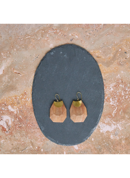 OraTen Topanga Earrings, Brass & Faceted Wood - Light Wood