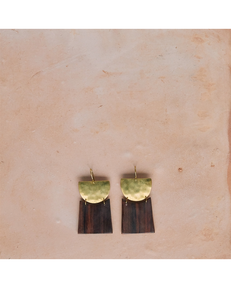 OraTen Gila Earrings, Brass & Wood Linked  - Arch & Trapezoid - Dark Wood