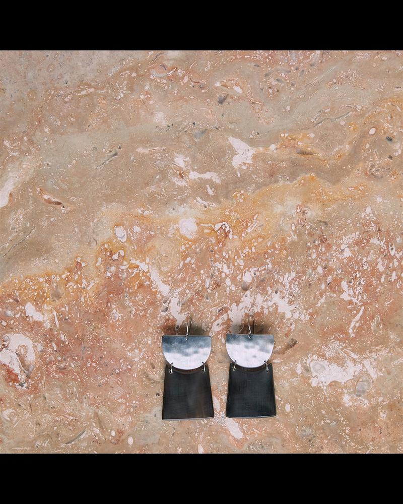 OraTen Gila Earrings, Silver & Horn Linked  - Arch & Trapezoid - Dark Horn