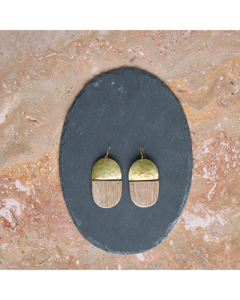 OraTen Mariposa Earrings, Brass & Wood Linked  - Capsule - Light Wood