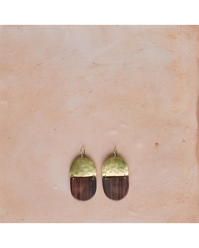 OraTen Mariposa Earrings, Brass & Wood Linked - Capsule - Dark Wood