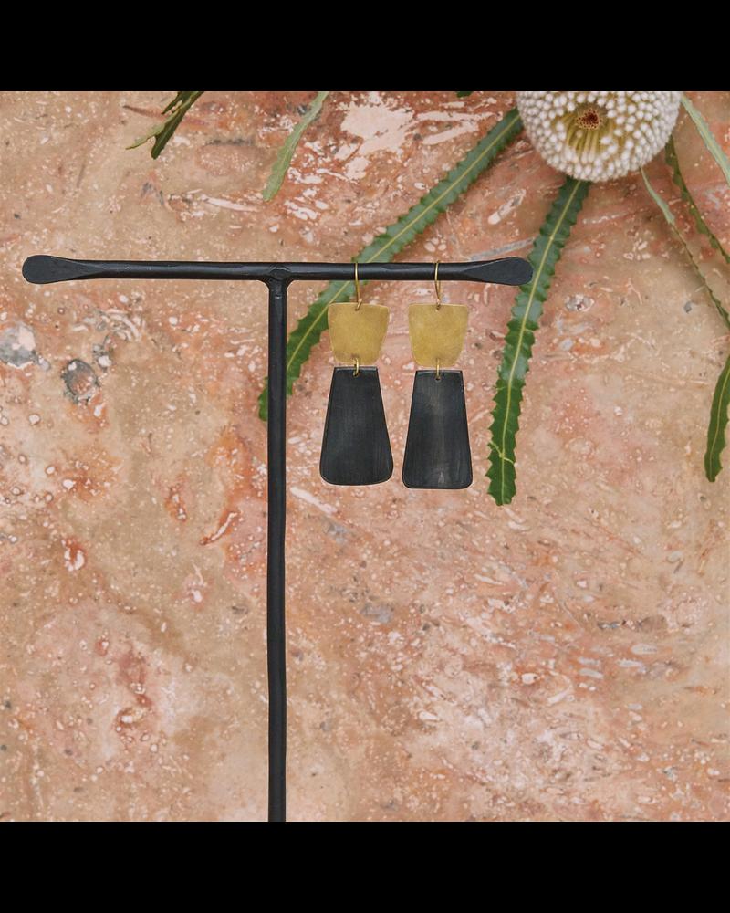 OraTen Leucadia Earrings, Brass & Horn - Trapezoids - Dark Horn