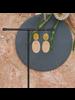 OraTen Leucadia Earrings, Brass & Wood  - Ovals - Light Wood