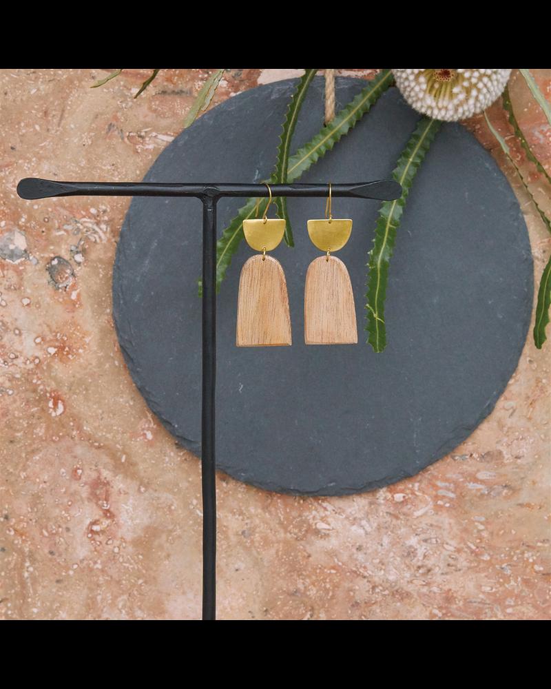 OraTen Leucadia Earrings, Brass & Wood  - Arches - Light Wood