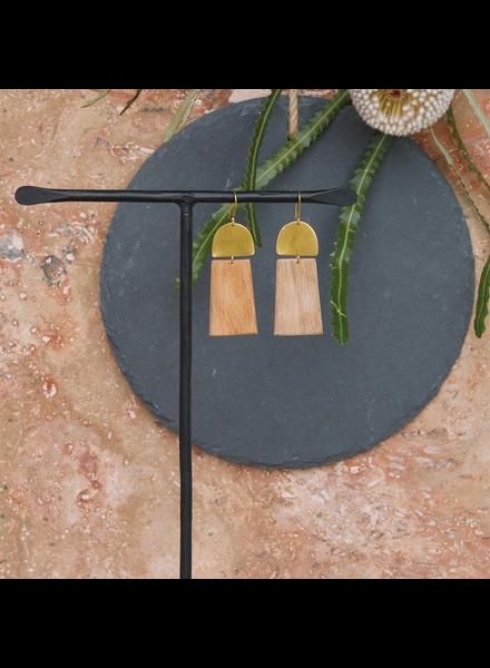 OraTen Leucadia Earrings, Brass & Wood - Arch & Trapezoid - Light Wood