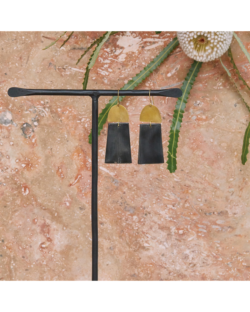 OraTen Leucadia Earrings, Brass & Horn  - Arch & Trapezoid - Dark Horn