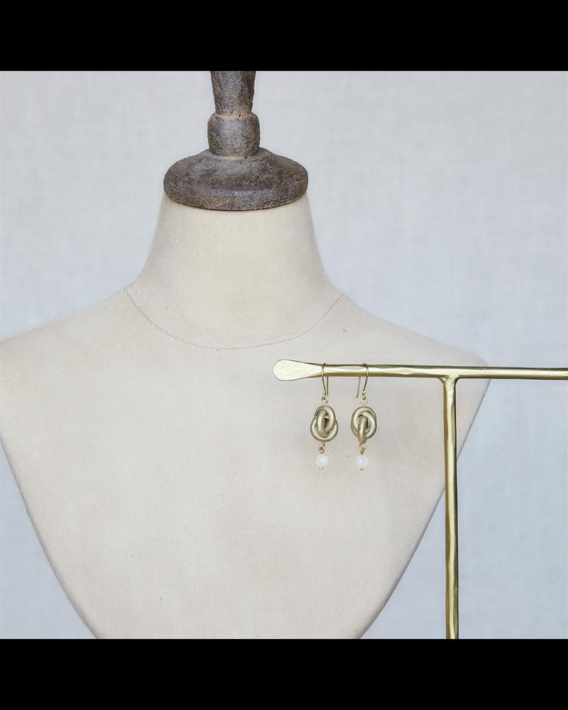 OraTen Julia Looped Earring - Sm, Brass - White Onyx