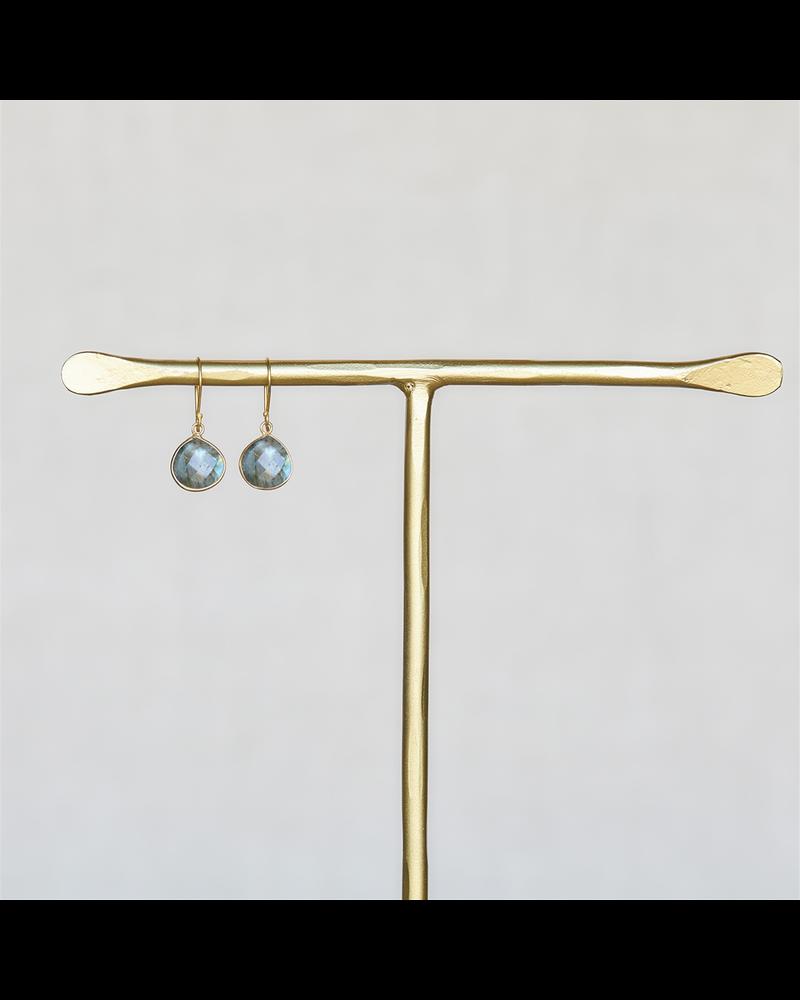 OraTen Lucille Earrings, Brass Heart Cab - Labadorite