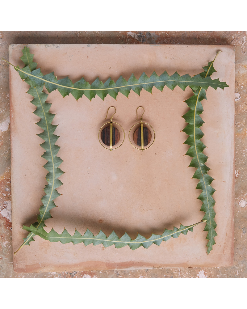 OraTen Ocotillo Earrings, Brass & Wood Caged - Dark Wood Brass