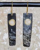 OraTen Tengara Earring with Eyelet - Rectangle - Dark Horn, Brass