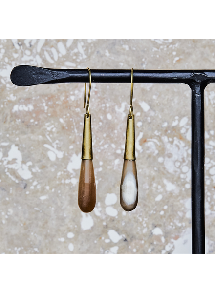OraTen Teardrop Horn Earring - Sm - Light Horn, Brass