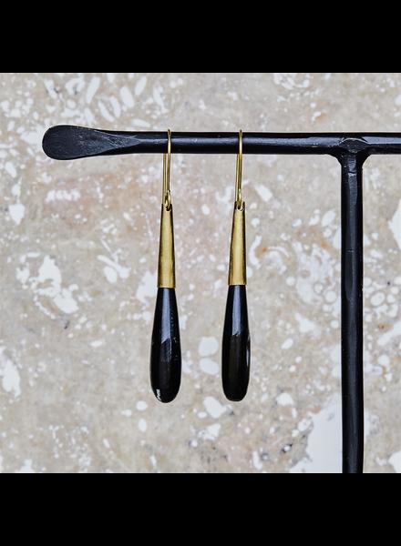 OraTen Teardrop Horn Earring - Lrg - Dark Horn, Brass