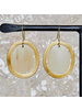 OraTen Banjar Floating Oval Earring - Sm - Light Horn, Brass