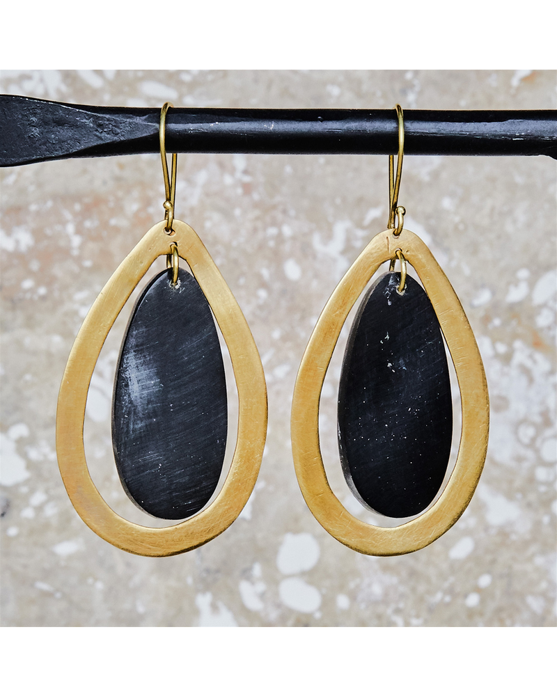 OraTen Banjar Floating Teardrop Earring - Dark Horn, Brass