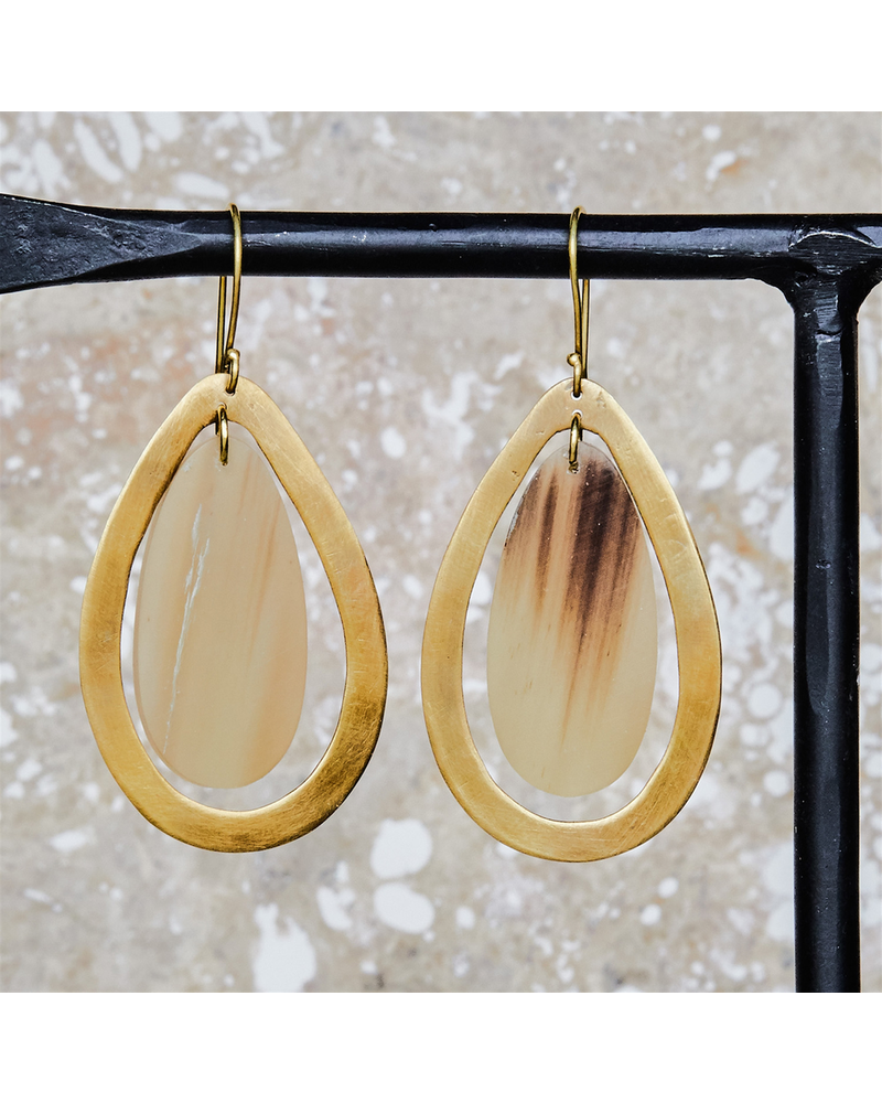 OraTen Banjar Floating Teardrop Earring - Light Horn, Brass