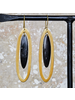 OraTen Banjar Floating Long Oval Earring - Dark Horn, Brass