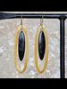OraTen Banjar Floating Long Oval Earring - Dark Horn, Brass