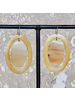 OraTen Banjar Floating Oval Earring - Lrg - Light Horn, Brass
