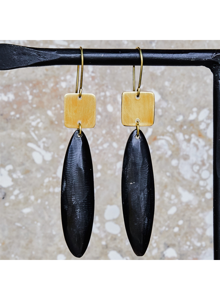 OraTen Tidore Linked Square and Oval Earring - Dark Horn, Brass