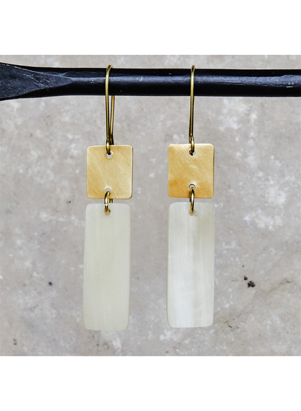 OraTen Tidore Linked Square and Rectangle Earring - Light Horn, Brass