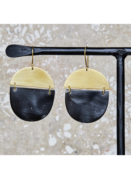 OraTen Malu Linked Circular Earring - Dark Horn, Brass
