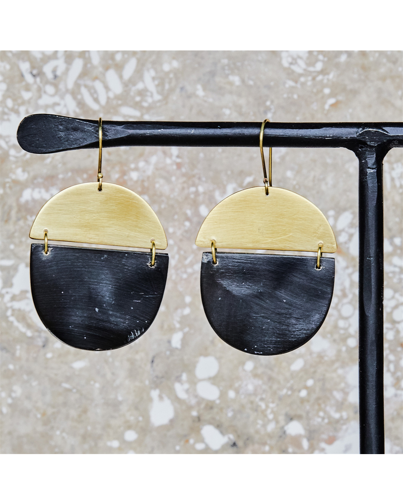 OraTen Malu Linked Circular Earring - Dark Horn, Brass