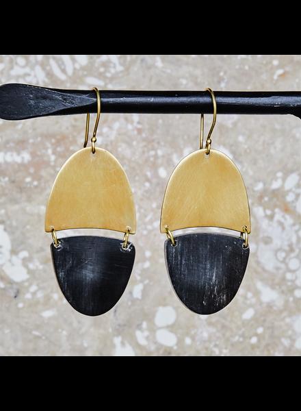 OraTen Malang Linked Capsule Earring - Dark Horn, Brass