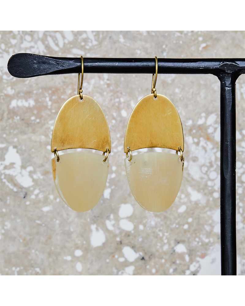 OraTen Malang Linked Capsule Earring - Light Horn, Brass