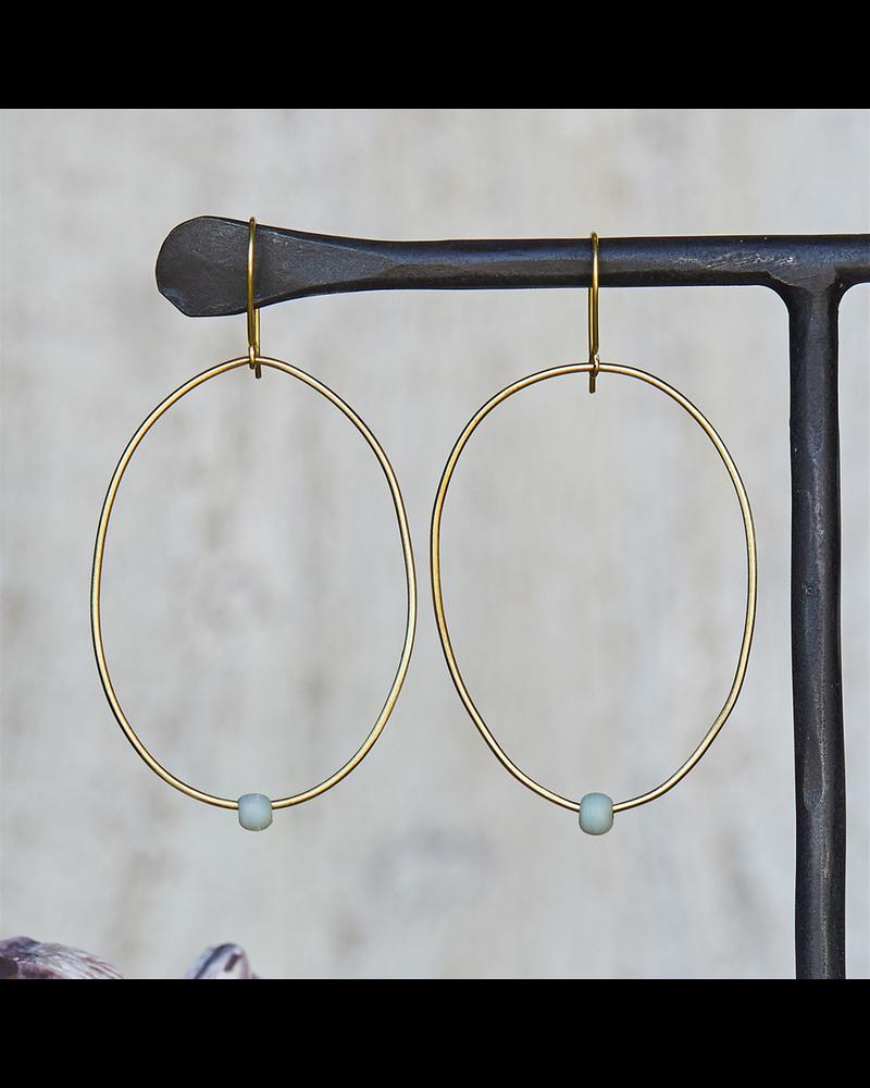 OraTen Lombok Organic Oval Earring - Aqua
