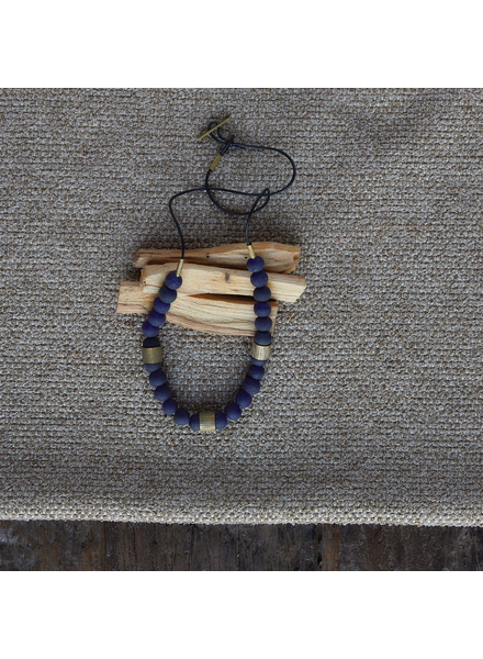 OraTen Cerro Necklace, Glass Bead & Brass - Cobalt