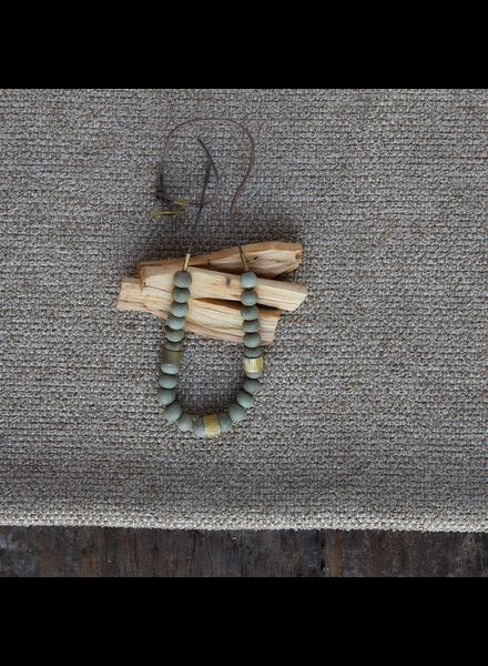 OraTen Cerro Necklace, Glass Bead & Brass - Sage Green