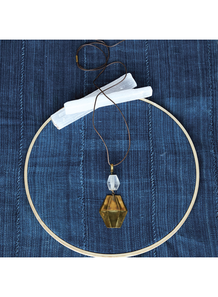 OraTen Aria Faceted Pendant, Glass Bead & Brass - Clear