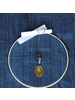 OraTen Aria Faceted Pendant, Glass Bead & Brass - Grey