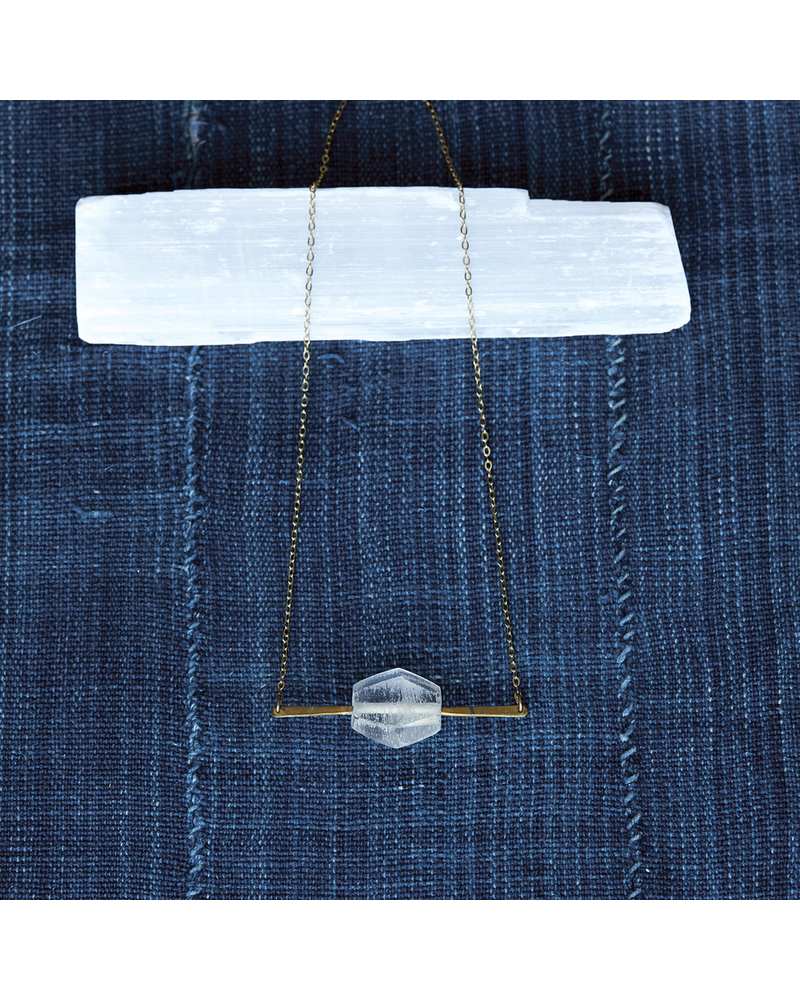 OraTen Aria Faceted  Necklace, Glass Bead - Clear