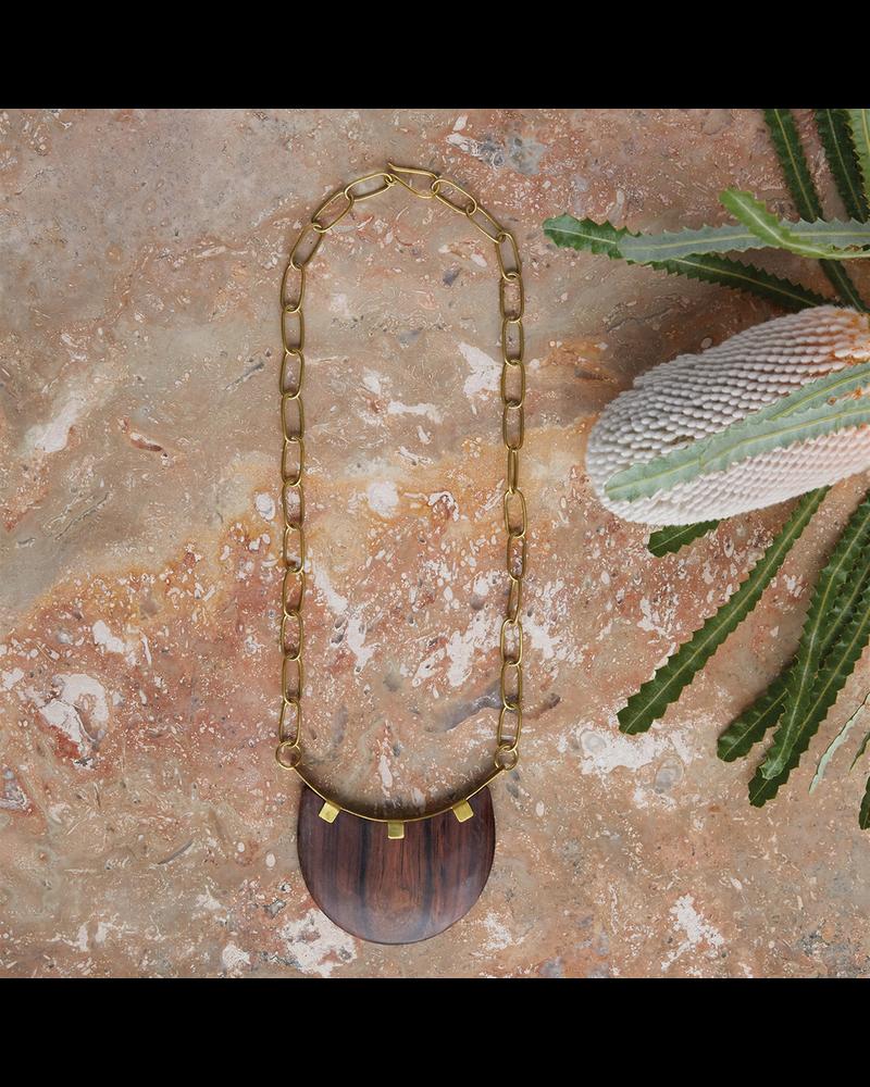 OraTen Muir Drop Pendant, Brass & Wood - Dark Wood
