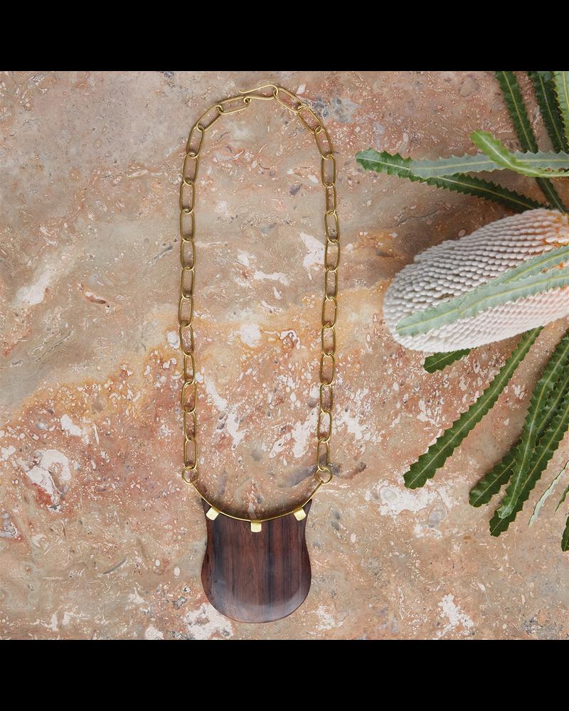OraTen Muir Crest Pendant, Brass & Wood - Dark Wood